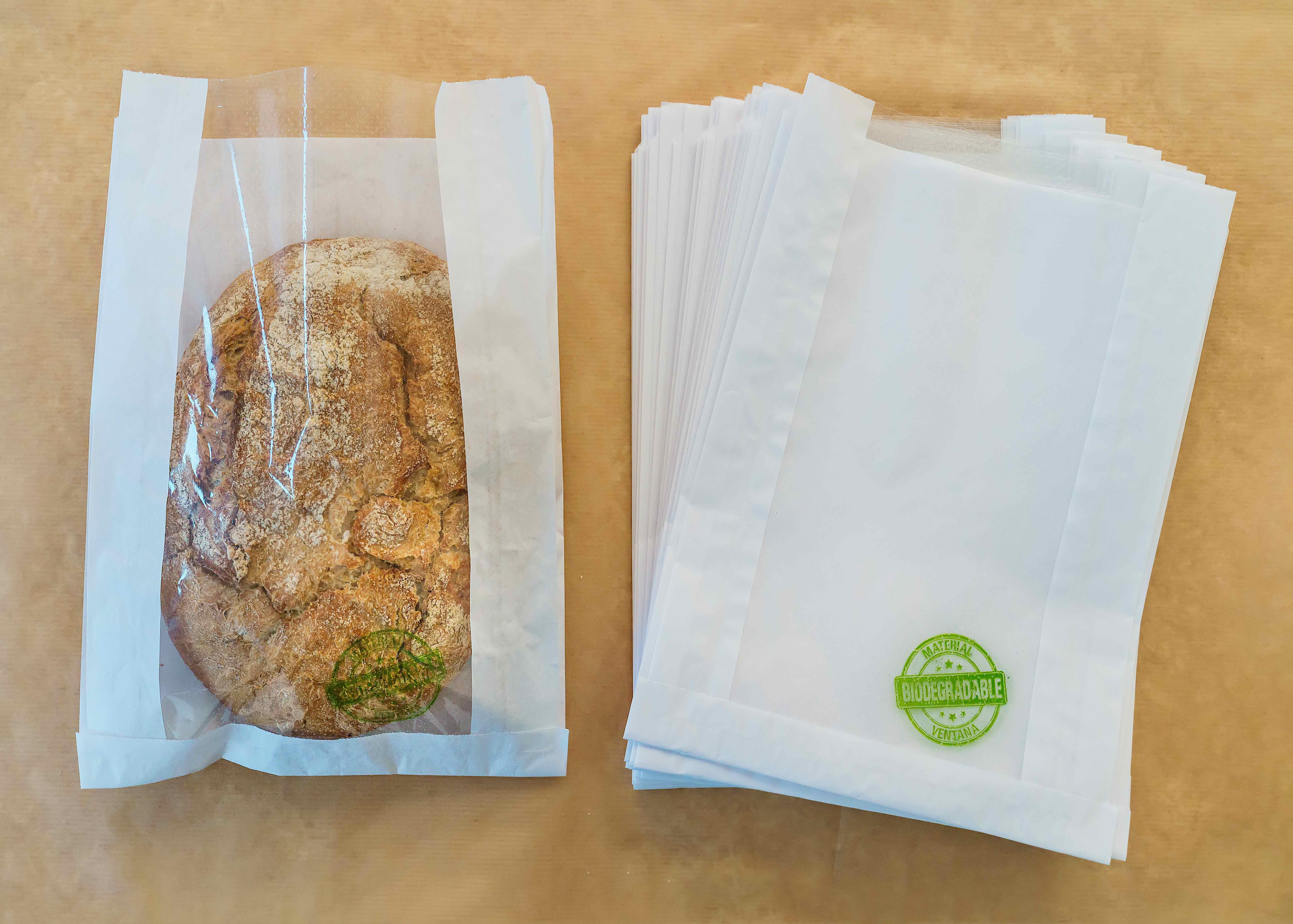 Bolsa de papel con ventana compostable